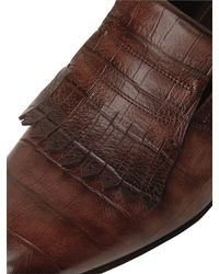 Santoni - Brown Croc Embossed Fringed Leather Loafers for Men - Lyst