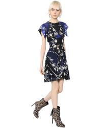 Roberto Cavalli | Blue Star & Floral Printed Jersey Dress | Lyst