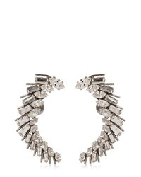 Saint Laurent | Metallic Cocktail Crystal Brass Earrings | Lyst