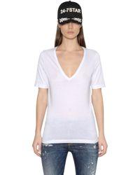 DSquared² | Black V Neck Cotton Jersey T-shirt | Lyst