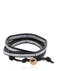 Colana - Black Wrap Around Leather Bracelet - Lyst