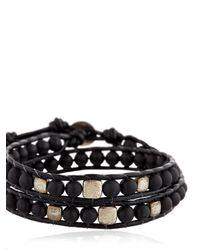 Colana - Black Onyx & Silver Wrap Around Bracelet - Lyst