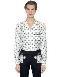 Dolce & Gabbana | White Crown Printed Silk Twill Pajama Shirt for Men | Lyst