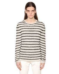 John Varvatos | Natural Striped Cotton Blend Knit Sweater | Lyst
