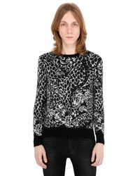 Saint Laurent | Black Mohair Blend Jacquard Knit Sweater for Men | Lyst