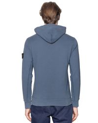 Stone Island - Blue Hooded Cotton Sweatshirt for Men - Lyst