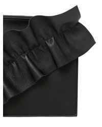 MSGM - Black Leather Pouch W/ Ruffle Detail - Lyst