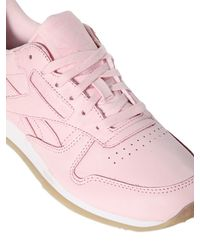 Reebok - Pink Classic Matte Leather Sneakers - Lyst