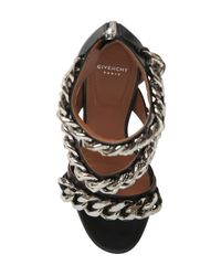 Givenchy - Black 100mm Leather Chained Sandals - Lyst
