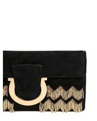 Ferragamo - Black Thalia Embellished Suede Clutch - Lyst