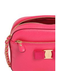 Ferragamo - Pink Lydia Grained Leather Camera Bag - Lyst
