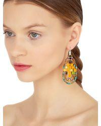 Ziio - Yellow Pixel Orange Beaded Earrings - Lyst