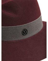Maison Michel Red Virginie Rabbit-Fur and Felt Hat