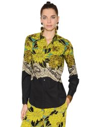 Etro   Multicolor Floral Print Stretch Cotton Poplin Shirt   Lyst