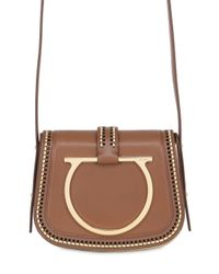 Ferragamo | Brown Large Sabine Stitched Leather Bag | Lyst
