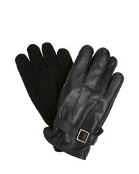 The Kooples | Black Suede & Smooth Leather Gloves for Men | Lyst
