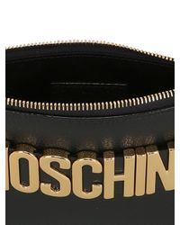 Moschino - Black Logo Lettering Leather Pouch - Lyst