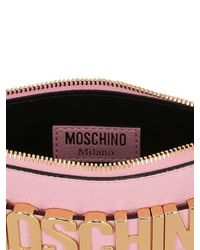Moschino - Pink Logo Lettering Leather Pouch - Lyst
