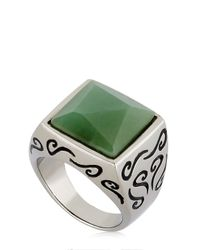 Marco Ta Moko | White Ara Engraved Ring With Aventurine for Men | Lyst