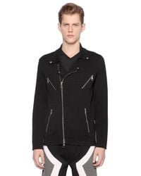 Neil Barrett | Black Viscose Milano Jersey Biker Jacket for Men | Lyst