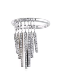 Nina Ricci - Metallic Fringe Ring With Crystals - Lyst