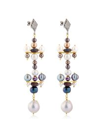 Katerina Psoma - Metallic Pearl Earrings - Lyst