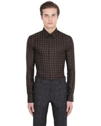 Trussardi | Brown Printed Silk Shirt for Men | Lyst