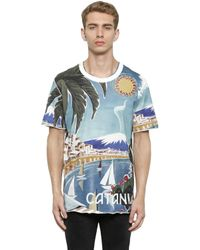 Dolce & Gabbana | Blue Catania Printed Cotton Jersey T-shirt for Men | Lyst