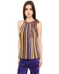 Missoni | Multicolor Striped Lamé Rib Knit Top With Bow | Lyst
