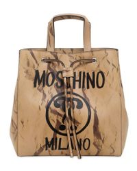 Moschino | Natural Printed Leather Bucket Shoulder Bag | Lyst