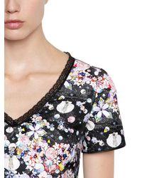 Piccione.piccione | Black Floral Printed Mikado Top | Lyst