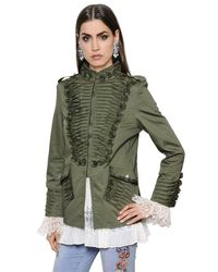 Ermanno Scervino | Green Frilled Stretch Cotton Canvas Jacket | Lyst