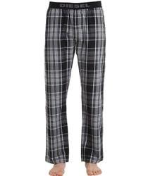 DIESEL | Gray Plaid Cotton Pajama Pants for Men | Lyst