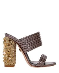 Le Silla | Brown 110mm Quilted Leather Sandals W/crystals | Lyst