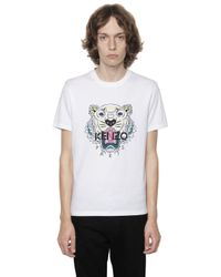 KENZO   White Printed Tiger Cotton Jersey T-shirt for Men   Lyst