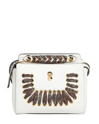 Fendi | White Small Dotcom Lace-up Leather Bag | Lyst