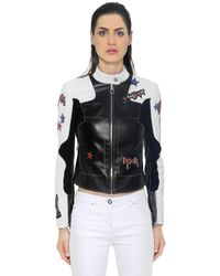 Versace | Black Stars Patches Leather Biker Jacket | Lyst