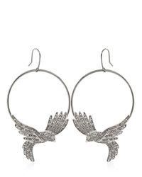 Roberto Cavalli - Metallic Swarovski Bird Hoop Earrings - Lyst