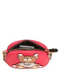 Moschino - Red Teddy Bear Tab Faux Leather Shoulder Bag - Lyst
