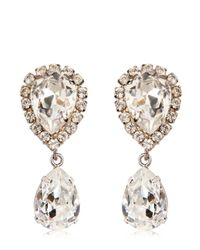 Dolce & Gabbana | Metallic Large Swarovski Drop Clip-on Earrings | Lyst
