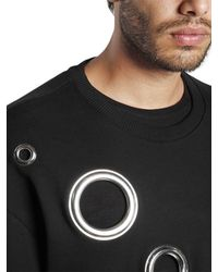 DIESEL - Black Eyelet Cotton Sweatshirt for Men - Lyst