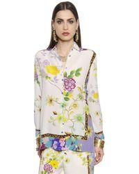 Etro   White Printed Silk Crepe De Chine Shirt   Lyst