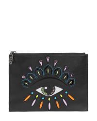KENZO   Black Eye Patch Leather Pouch   Lyst