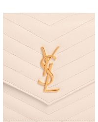 Saint Laurent - White Quilted Monogram Grained Leather Bag - Lyst