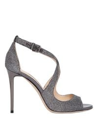 Jimmy Choo | Natural 100mm Emily Glitter Fabric Sandals | Lyst