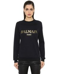 Balmain | Black Logo Printed Cotton Jersey Sweatshirt | Lyst