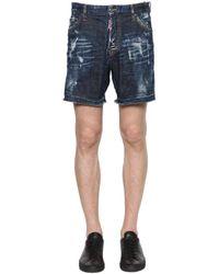 DSquared²   Blue Distressed Stretch Cotton Denim Shorts for Men   Lyst