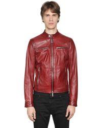 DSquared² | Brown Nappa Leather Biker Jacket for Men | Lyst