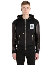 Fausto Puglisi | Black Leather & Techno Sweatshirt Jacket for Men | Lyst