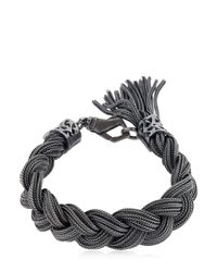 Emanuele Bicocchi | Black Medium Braided Sterling Silver Bracelet | Lyst